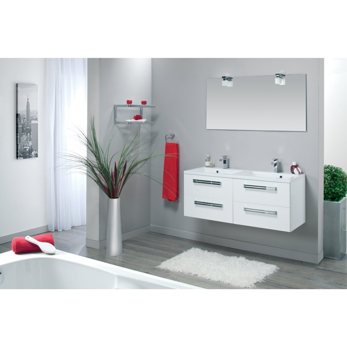 meuble sous vasque seducta 120 cm 4 tiroirs blanc brillant. Black Bedroom Furniture Sets. Home Design Ideas